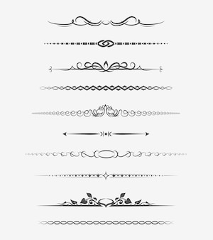 Calligraphic page dividers. retro decoration, book ornament, chapter and arrow.