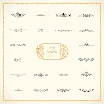 Calligraphic page dividers set