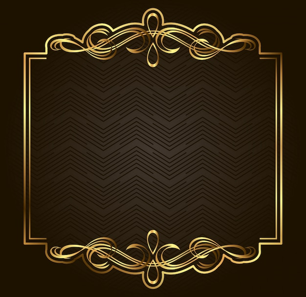 Calligraphic retro vector gold frame on dark background. premium design element