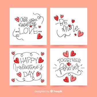 Calligraphic valentine card collection