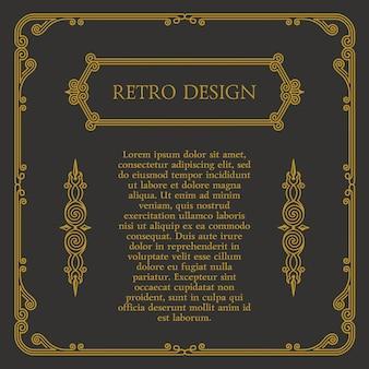 書道のヴィンテージデザイン要素とフレームとシンボル