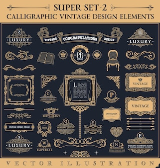 Calligraphic vintage elements and frames baroque design set