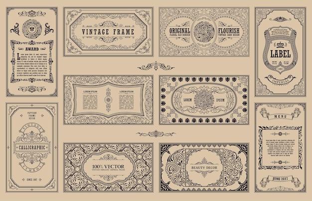 붓글씨 빈티지 프레임 및 레트로 카드 꽃 조각 디자인 레이블