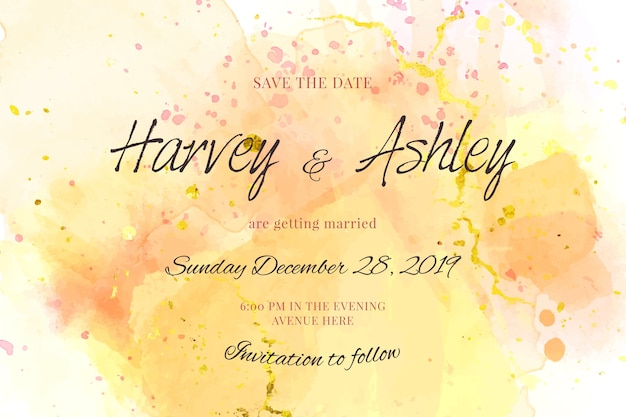 Calligraphic wedding invitation template with watercolor stains