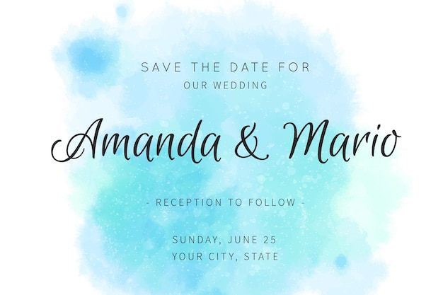 Calligraphic wedding invitation with blue tones