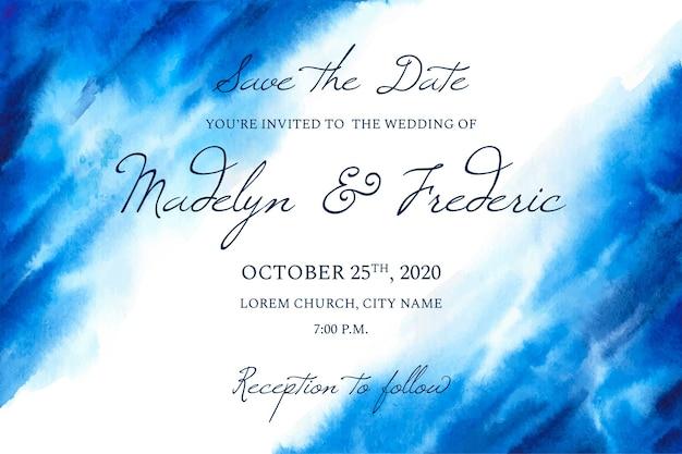 水彩画の汚れと書道の結婚式の招待状