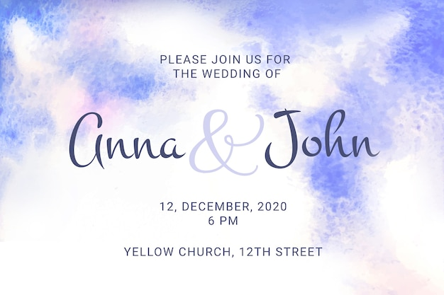 Calligraphic wedding invitation with watercolor stains