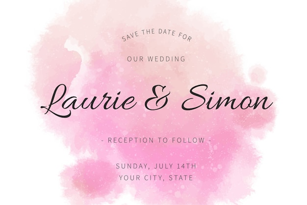 Calligraphic wedding invitation with watercolour stains