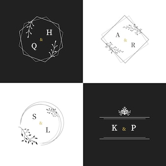 Calligraphic wedding monogram logos