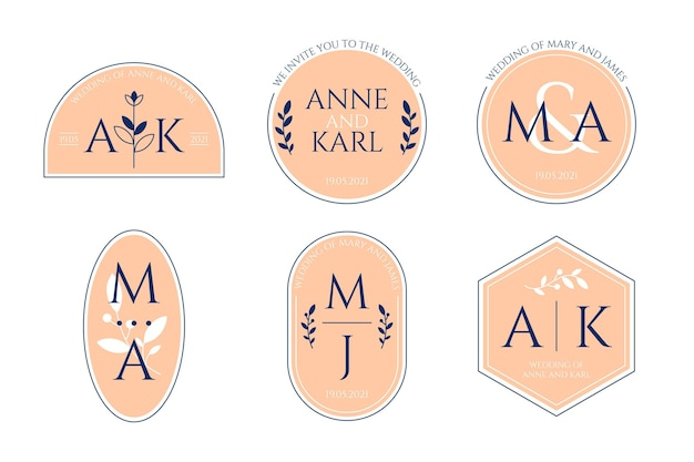 Calligraphic wedding monogram logos