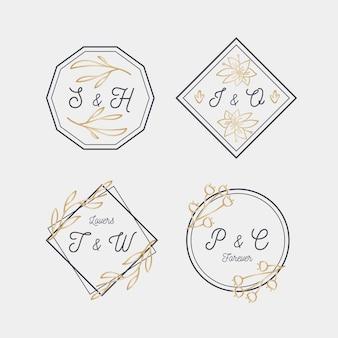 Каллиграфические свадебные логотипы с монограммой