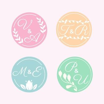 書道の結婚式のモノグラムのロゴ