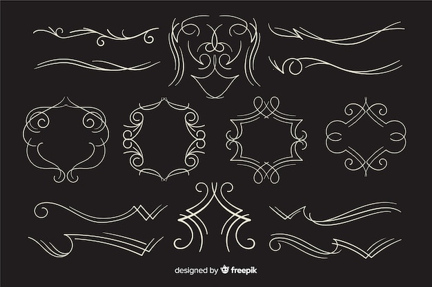 Calligraphic wedding ornament collection on black background