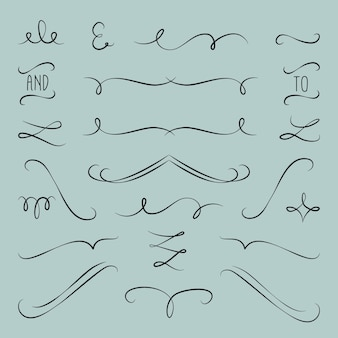 Calligraphic wedding ornament set