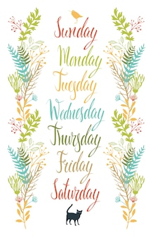 Calligraphy days of the week with flowers