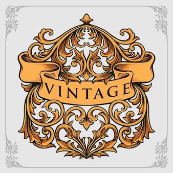 서예 장식 빈티지 장식품 벡터 삽화 로고, 마스코트 상품 티셔츠, 스티커 및 라벨 디자인, 포스터, 인사말 카드 광고 비즈니스 회사 또는 브랜드.
