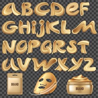 금색 아크릴 페인트로 만든 서예 글꼴.