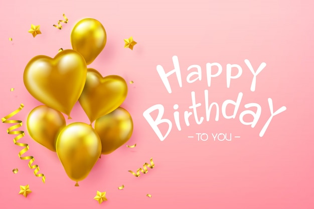 Calligraphy happy birthday text with golden balloon
