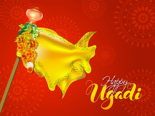 Calligraphy happy ugadi illustration with bamboo stick, yellow cloth, flower garland, neem leaves and kalash on red mandala