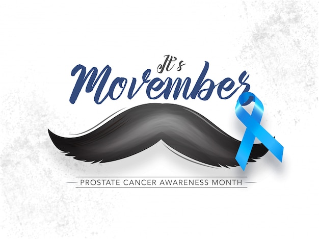 Calligraphy of it's movember with mustache and aids ribbon