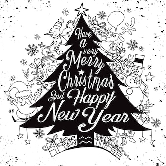 Calligraphy lettering christmas tree with cute whimsical christmas characters