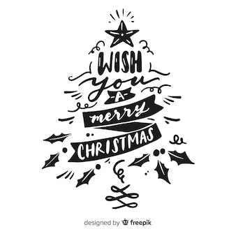 Calligraphy lettering christmas tree