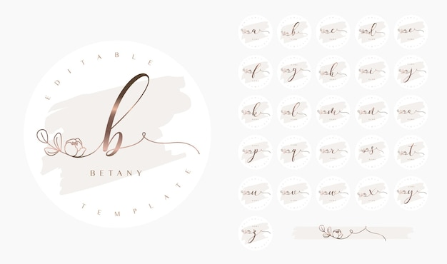Calligraphy logo set with alphabet letters and floral swash design