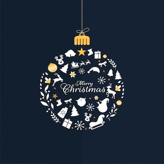 Calligraphy of merry christmas with hanging bauble made by christmas festival elements on blue background