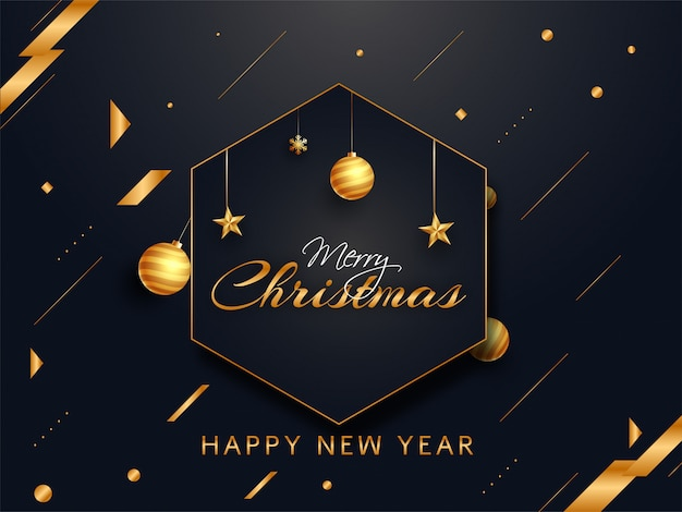 Calligraphy of merry christmas with hanging golden baubles, stars and abstract elements decorated on black  for new year celebration.
