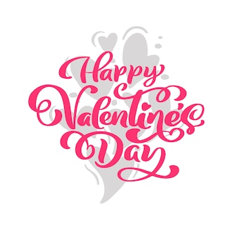 Calligraphy phrase happy valentine s day with hearts.