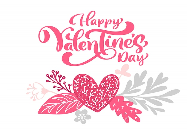 Calligraphy phrase happy valentine s day with hearts