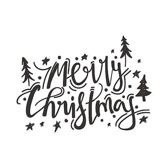 Calligraphy phrase merry christmas spruce star and decoration elements