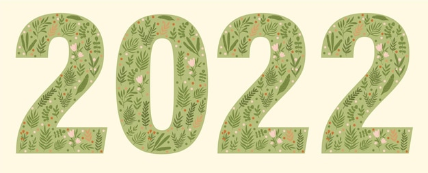 Calligraphy sign 2022 drawn in a green style with flowers and leaves calendar 2022