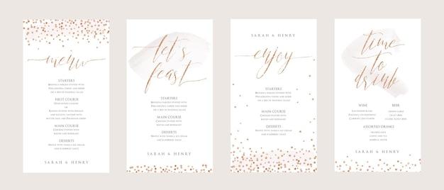Instagramの物語のための書道スタイルの結婚式のメニューテンプレートデザイン