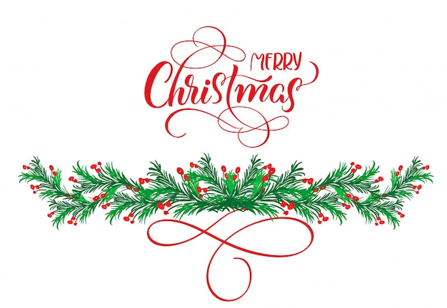 Calligraphy text merry christmas with flourish and christmas tree
