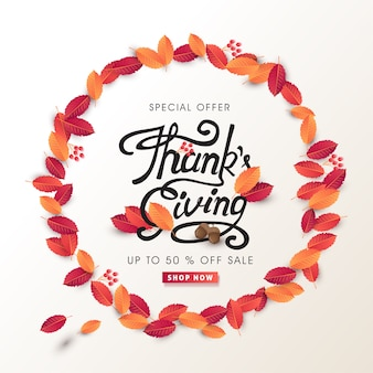 Calligraphy of thanksgiving day banner. autumn seasonal lettering.