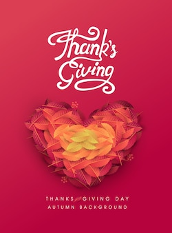 Calligraphy of thanksgiving day poster. autumn seasonal lettering.