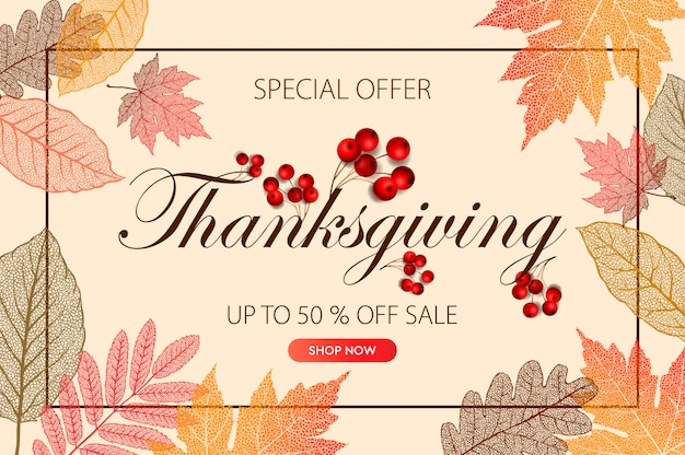 Calligraphy of thanksgiving day sale banner. seasonal lettering, illustration.