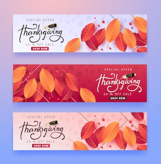 Calligraphy of thanksgiving day sale banner. seasonal lettering.
