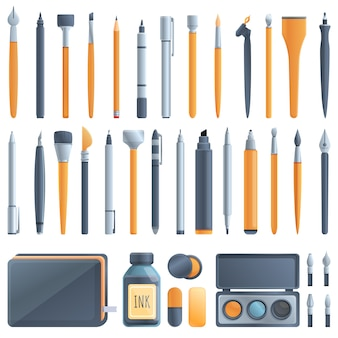 Набор иконок инструментов каллиграфии. мультфильм набор инструментов каллиграфии векторные иконки
