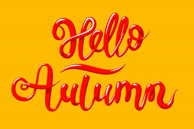 Calligraphy with the phrase hello autumn. hand drawn lettering in 3d style,  illustration.