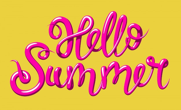 Calligraphy with the phrase hello summer. hand drawn lettering in 3d style,   illustration.