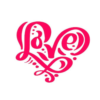 Calligraphy word love. vector valentines day hand drawn lettering.