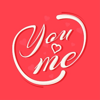 Calligraphy of you love me on red background.