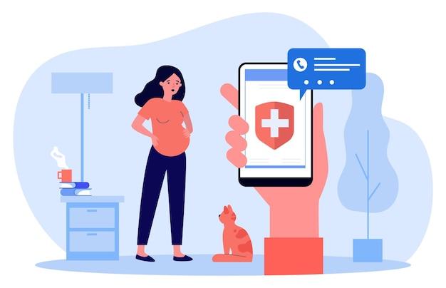 수축의 경우 구급차를 부릅니다. 평면 벡터 일러스트 레이 션. 임신한 여자는 배를 잡고 화면에 의료 표시가 있는 스마트폰을 들고 있습니다. 출생, 응급, 의학 개념