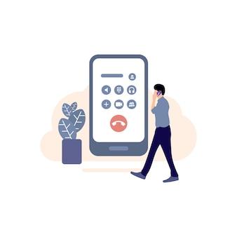 通話アイコン、着信通話、スマートフォンを手に持つイラスト、電話の使用、携帯電話、電話
