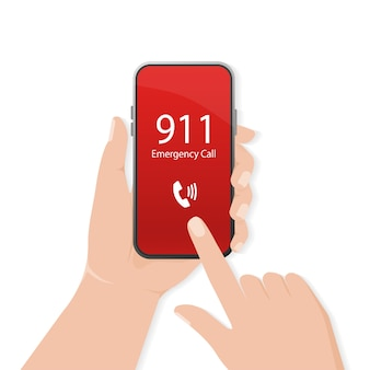 Calling in  .   . mobile phone. finger touch screen. first aid. call screen smartphone.  mobile device .