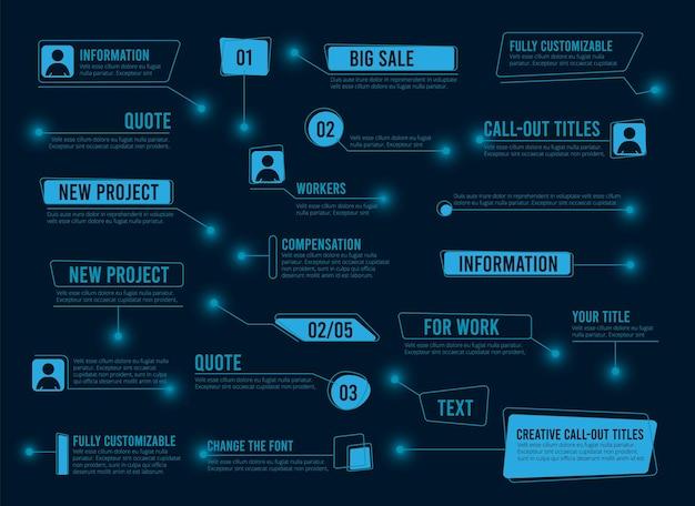 설명선 상자. 추상 텍스트 디지털 프레임입니다. 미래 기술 hud ui ux 요소 벡터 컬렉션입니다. 그림 디지털 데이터 프레임, 홀로그램 미래형 인터페이스
