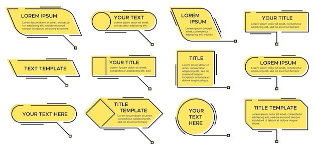 吹き出しのタイトル。テキストグラフィック、モダンなインフォグラフィックの黄色のレイアウトのタイトルとビデオ、ニュースのコールアウトのシンプルなテキストボックスを呼び出す