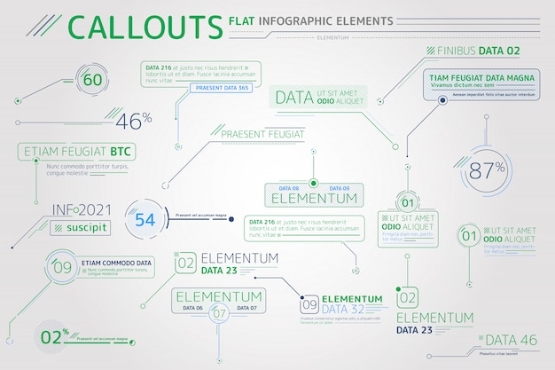 Callouts flat infographic elements